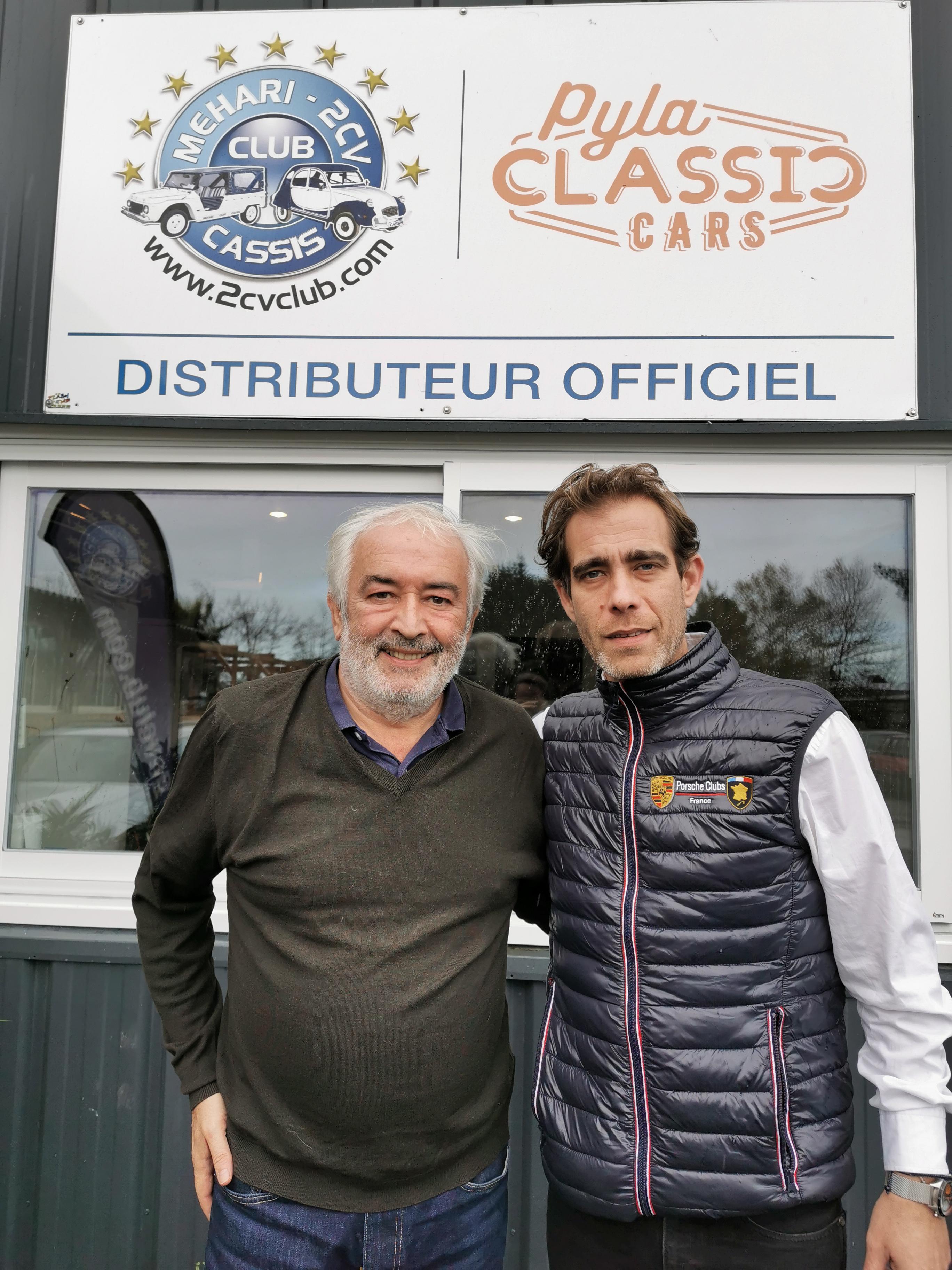 Vincent Repoux DG des montres Arpiem avec Franck Gérard, Pyla Classic Cars