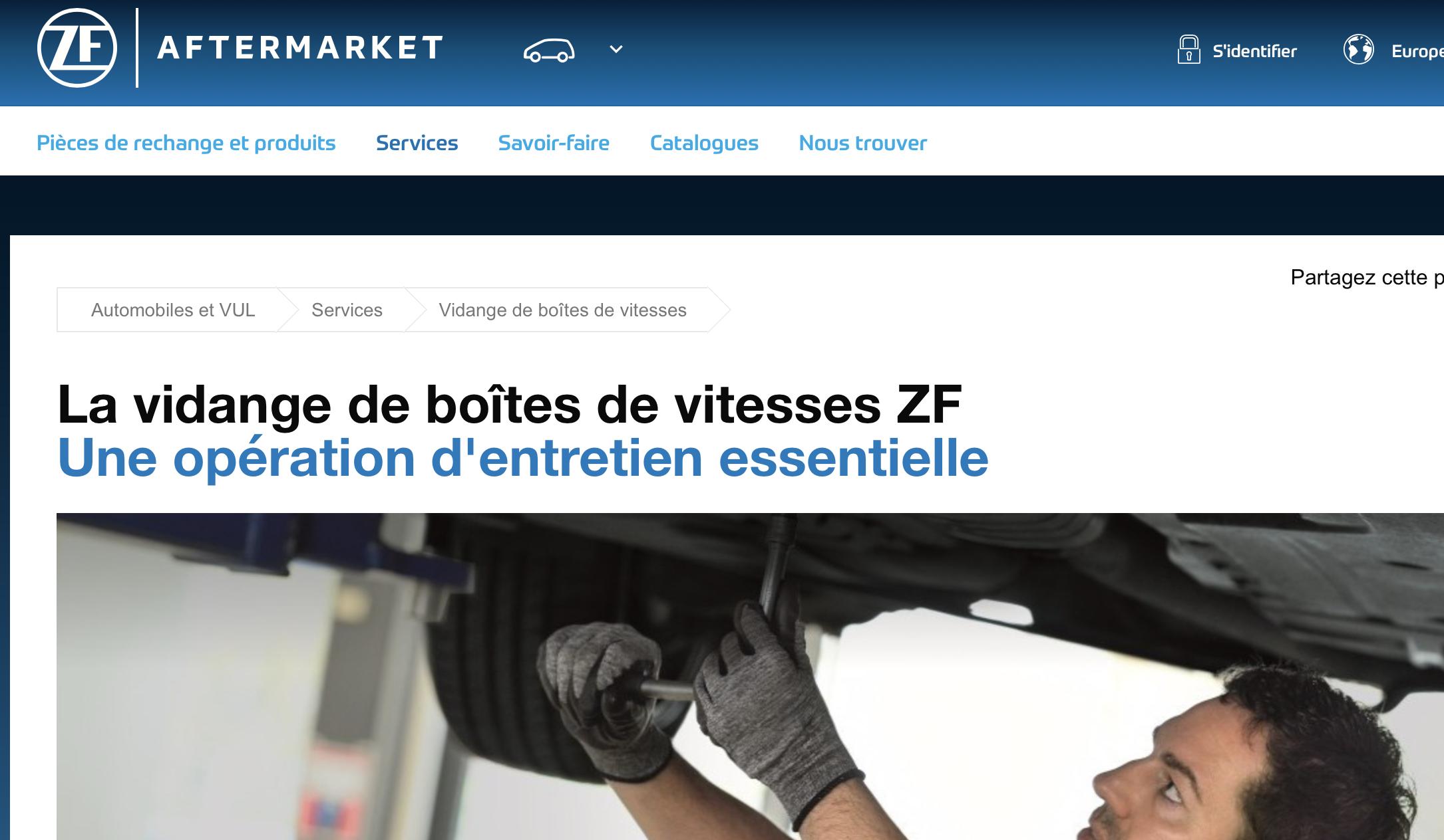 Entretien de boite de vitesse automatique ZF